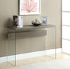 CONSOLE TABLE - DARK TAUPE WITH TEMPERED GLASS image