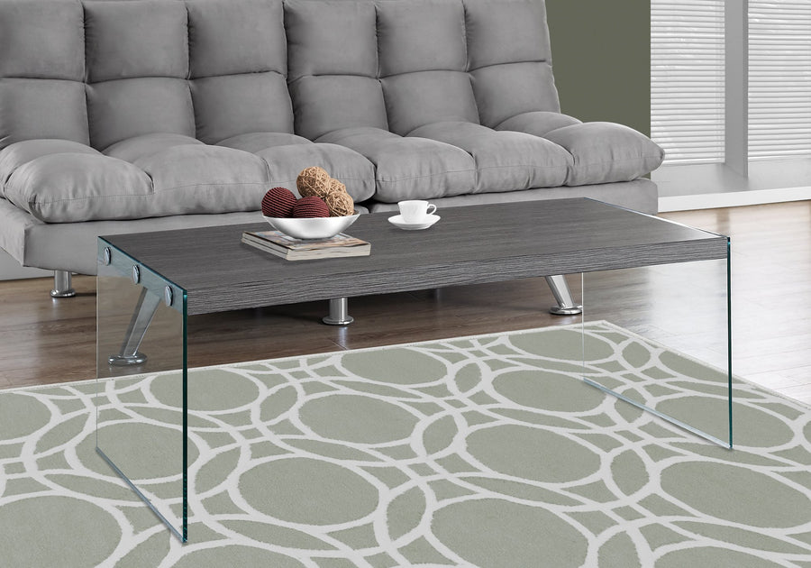 COFFEE TABLE - GREY WITH TEMPERED GLASS image