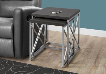 NESTING TABLE - 2PCS SET / GREY WITH CHROME METAL image