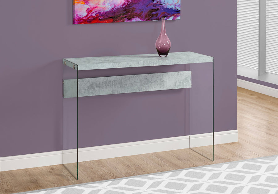 CONSOLE TABLE - GREY CEMENT WITH TEMPERED GLASS image