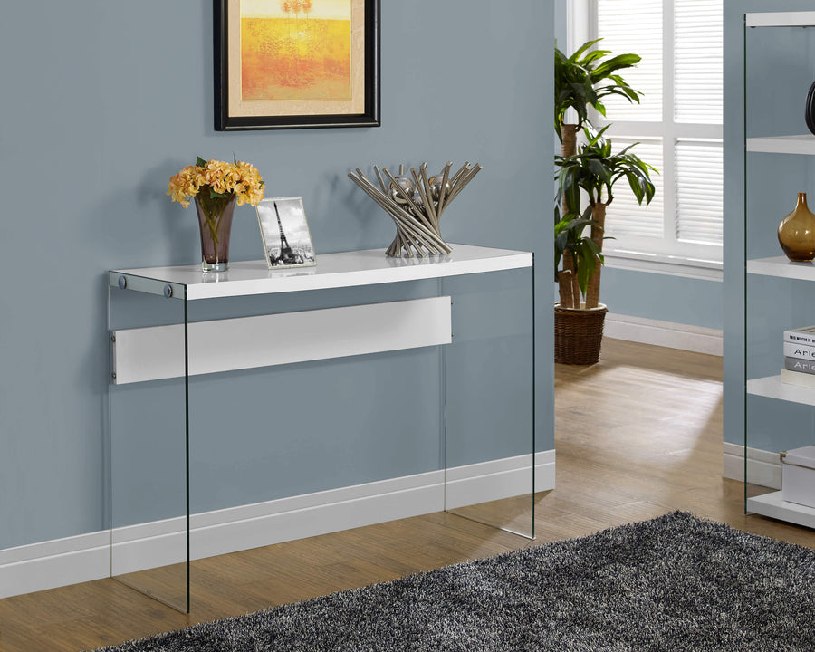 CONSOLE TABLE - GLOSSY WHITE WITH TEMPERED GLASS image