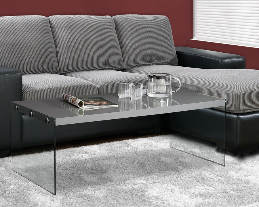 COFFEE TABLE - GLOSSY GREY WITH TEMPERED GLASS image