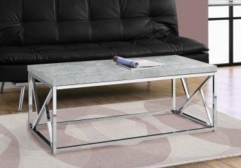 COFFEE TABLE - GREY CEMENT WITH CHROME METAL image