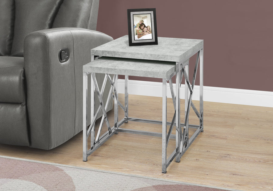 NESTING TABLE - 2PCS SET / GREY CEMENT WITH CHROME METAL image