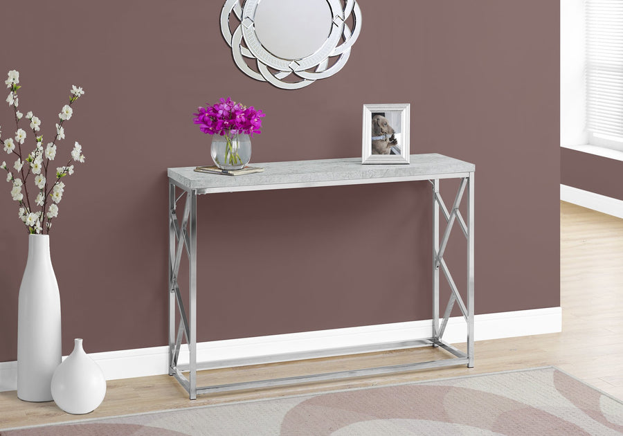CONSOLE TABLE - GREY CEMENT WITH CHROME METAL image