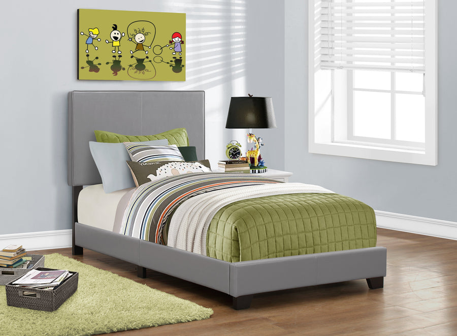 BED - TWIN SIZE / GREY LEATHER-LOOK FABRIC image