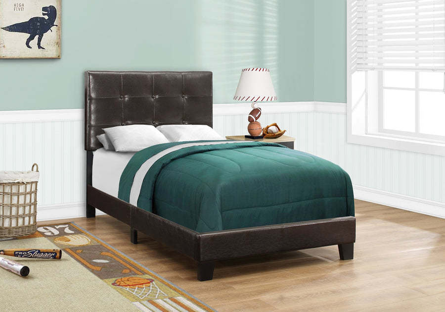BED - TWIN SIZE / DARK BROWN LEATHER-LOOK image