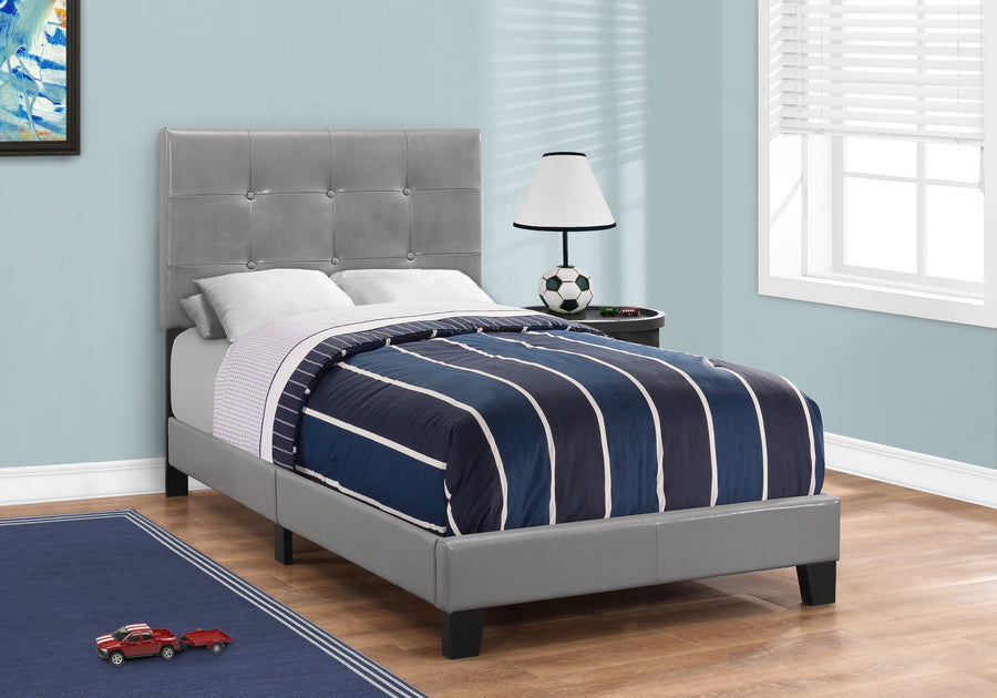 BED - TWIN SIZE / GREY LEATHER-LOOK image