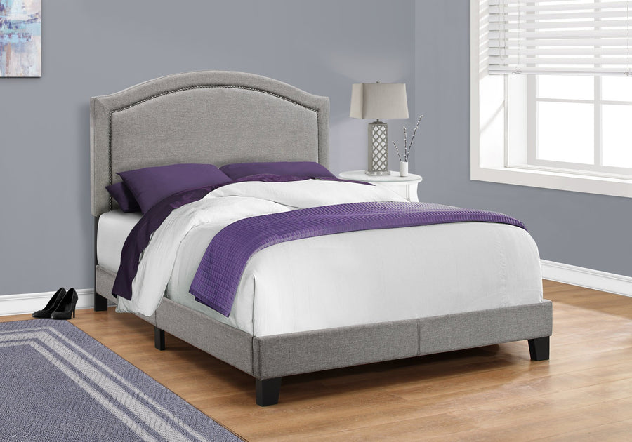 BED - FULL SIZE / GREY LINEN WITH CHROME TRIM image