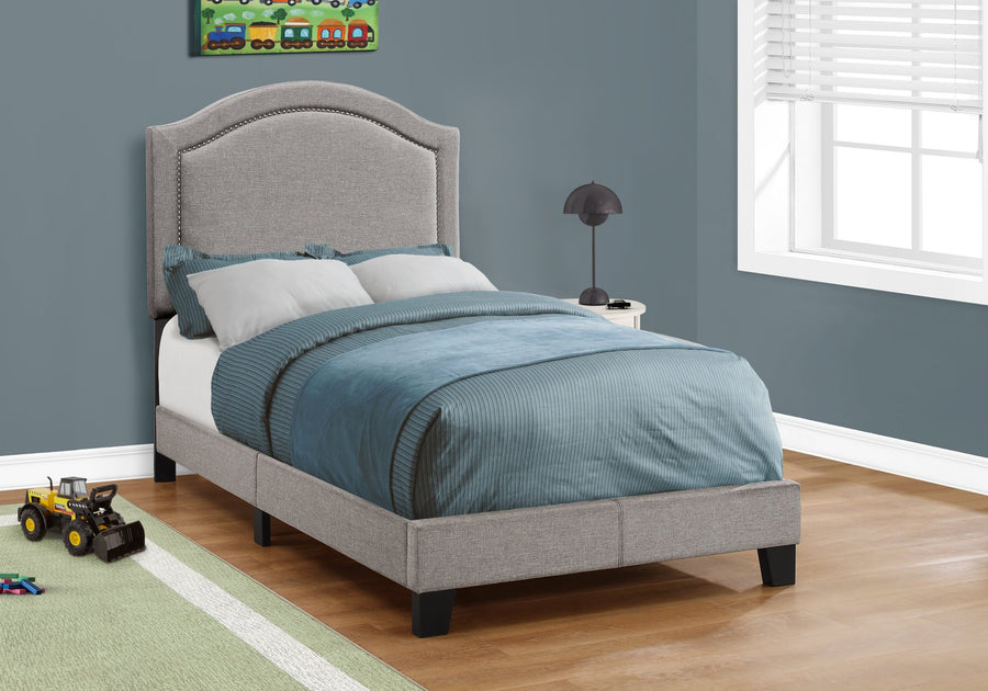 BED - TWIN SIZE / GREY LINEN WITH CHROME TRIM image