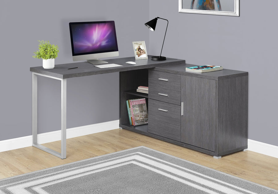 "COMPUTER DESK - 60""L / GREY LEFT OR RIGHT FACING"