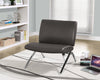ACCENT CHAIR - CHARCOAL GREY LEATHER-LOOK / CHROME METAL image