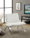 ACCENT CHAIR - WHITE LEATHER-LOOK FABRIC / CHROME BASE image
