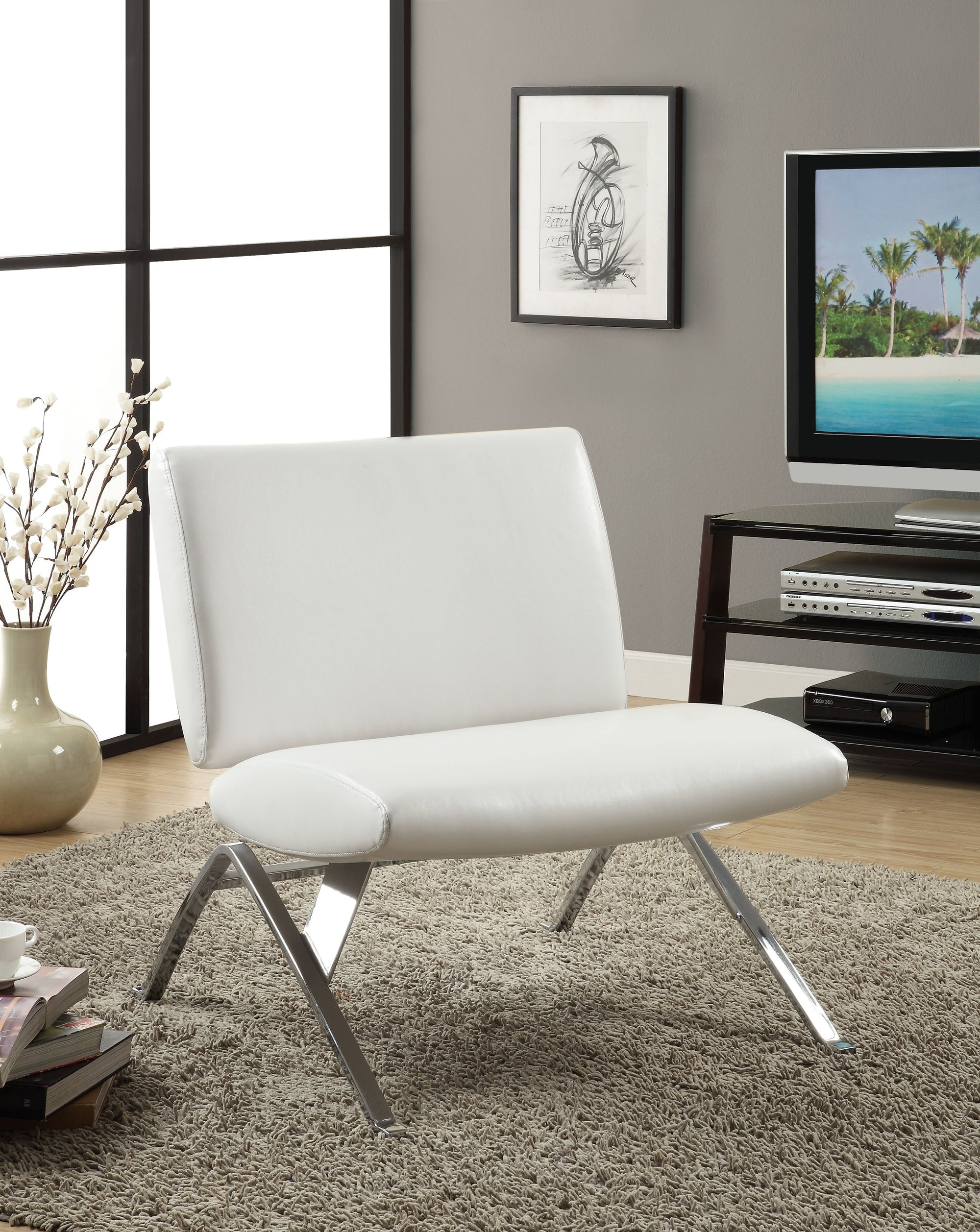 Superb Accent Chair White Leather Look Fabric Chrome Base Machost Co Dining Chair Design Ideas Machostcouk