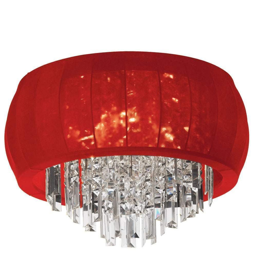 8LT Crystal Flush Mount Red Lycra Shd image