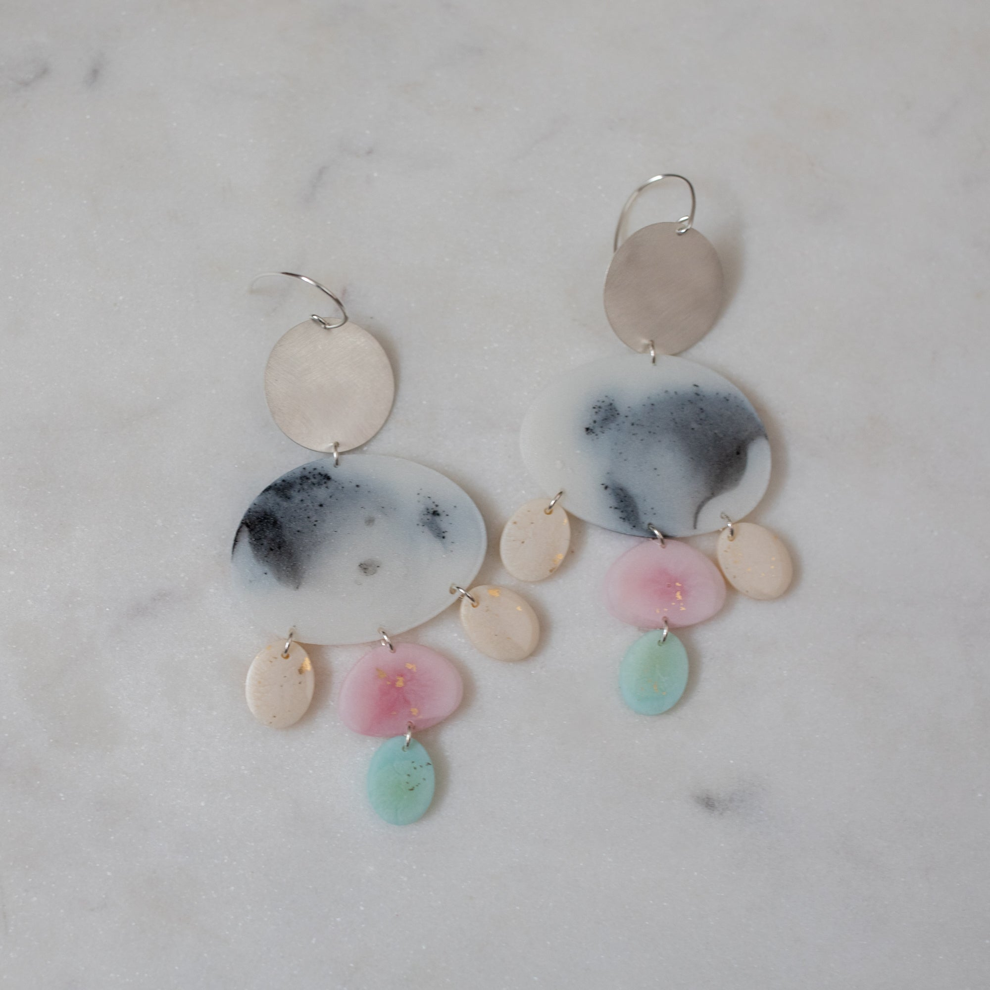 Silver Nightingale Monochrome Dangles in Candy Pastels