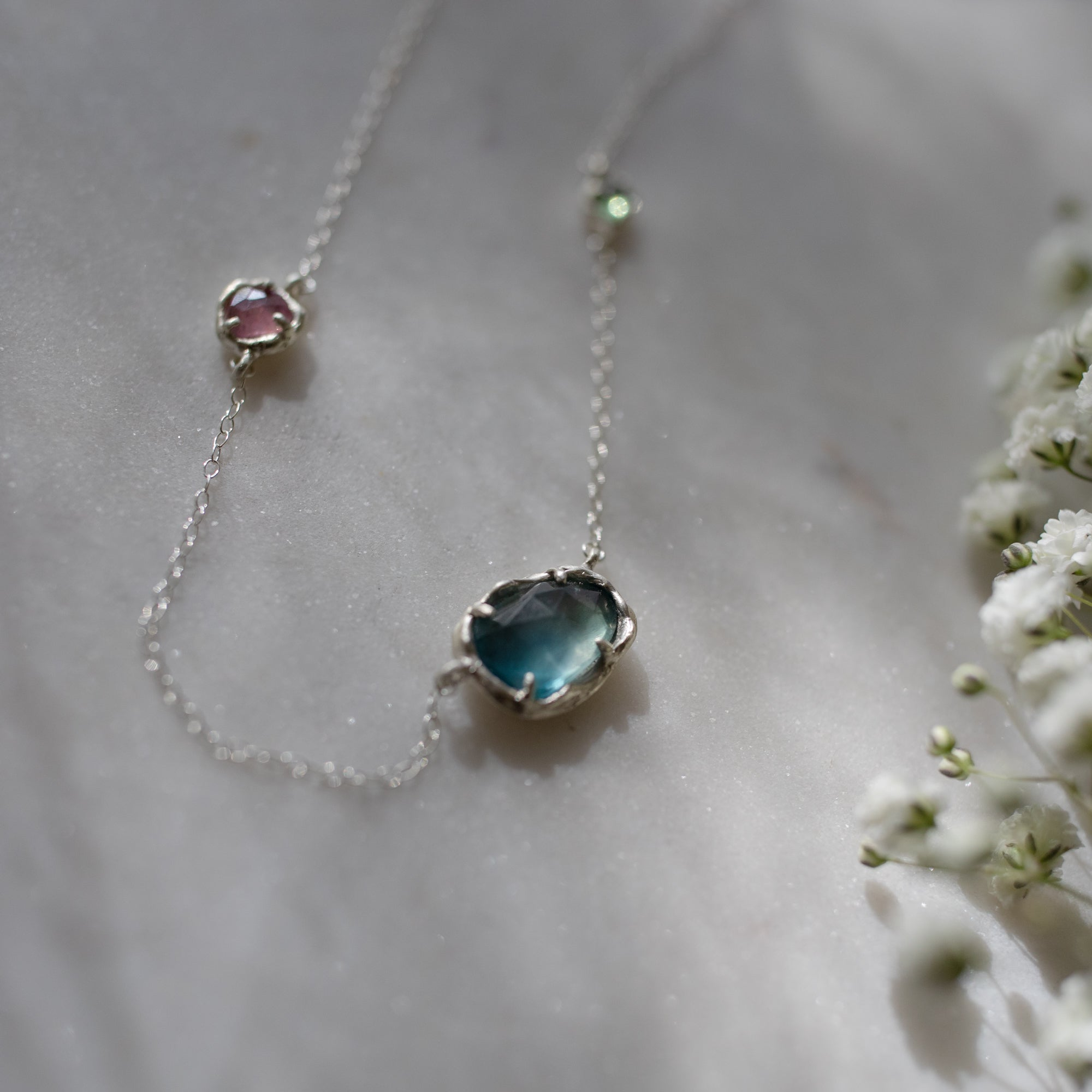 Fluorite, spinel and tourmaline necklace