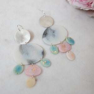 Silver Nightingale dangles in blues, pinks and monochrome