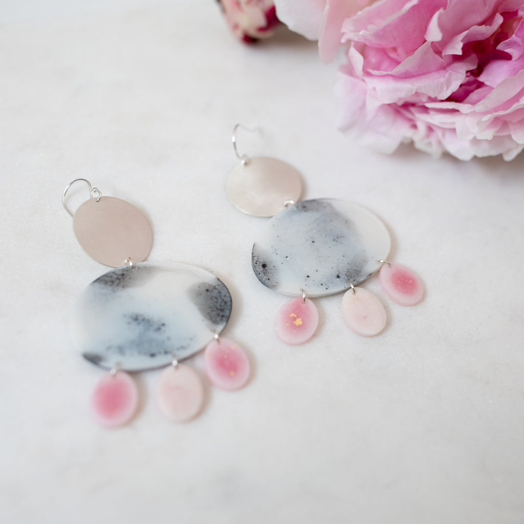 Silver Nightingale dangles in pink and monochrome