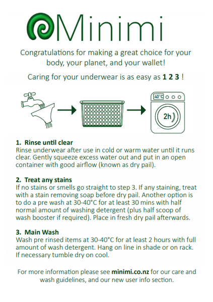 Care Instructions for Contemporary Queen Absorbent Underwear