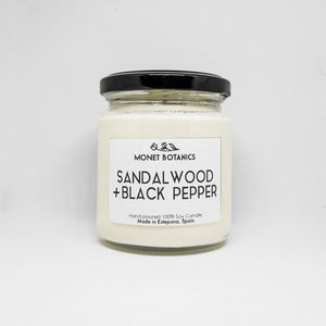 Sandalwood and Black Pepper Soy Candle - Sandalo y Pimienta Negra Vela de Soja