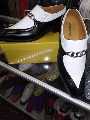 Mens Black + White Two Tone Dress Loafers Shoes Antonio Cerrelli 6710 S