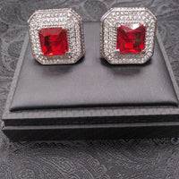 Mens Mega Oversized Cufflinks Shiny Silvertone Sparkly Square Shape Red Stone