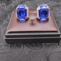 Mens Large Scale Cufflinks Shiny Silvertone Sparkly Royal Blue Stone
