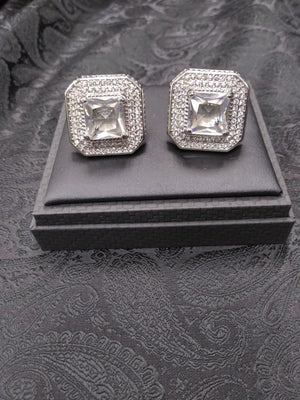 Mens Super Sized Cufflinks Silver Sparkly Square Shape Clear Stone