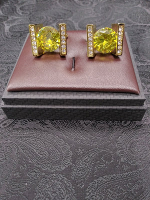 Mens Large Cufflinks Shiny Goldtone Sparkly Round Yellow Stone
