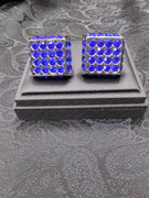 Mens Super Sized Cufflinks Shiny Silvertone Sparkly Blue Dice