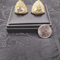 Mens Large Scale Cufflinks Shiny Goldtone Triangle Sparkly Clear Stone