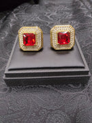 Mens Mega Sized Cufflinks Shiny Goldtone Sparkly Square Shape Red Stone