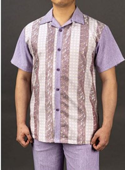 Mens Lavender Lilac Shirt + Pant Summer Set Walking Leisure Suit Karl Knox 2S001