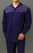 Mens Purple Suede Detail Long Sleeve 2 Piece Set Walking Suit Karl Knox 2S007