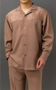 Mens Beige Sand Suede Detail Long Sleeve 2 Piece Set Walking Suit Karl Knox 2S007