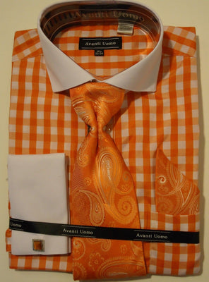 Mens Orange White Gingham Spread Collar Cuffed Dress Shirt Avanti DN46M - Nader Fashion Las Vegas