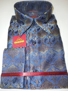 Mens Blue Gold Paisley Brocade High Collar French Cuff Fashion Shirt SANGI 1039 - Nader Fashion Las Vegas