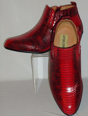 Mens Stylish Red Simulated Exotic Snake High Heel Boots Antonio Cerrelli 5159 - Nader Fashion Las Vegas