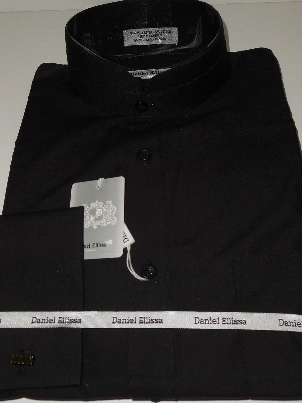 Mens Black High Collar Nehru Collarless Style French Cuff Dress Shirt DS3002C - Nader Fashion Las Vegas