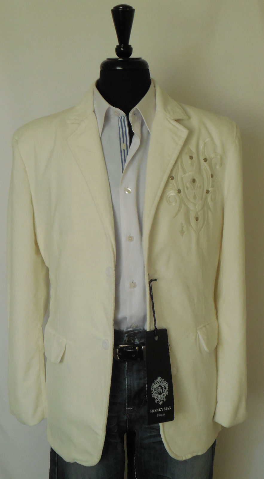 Mens Cool Ivory Velvet Winged Design Clubbing Jacket Blazer Franky Max BZ-9989 - Nader Fashion Las Vegas