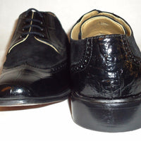 Mens Elegant Black Suede Look Two Tone Wing Tip Dress Shoes Liberty LS747 - Nader Fashion Las Vegas