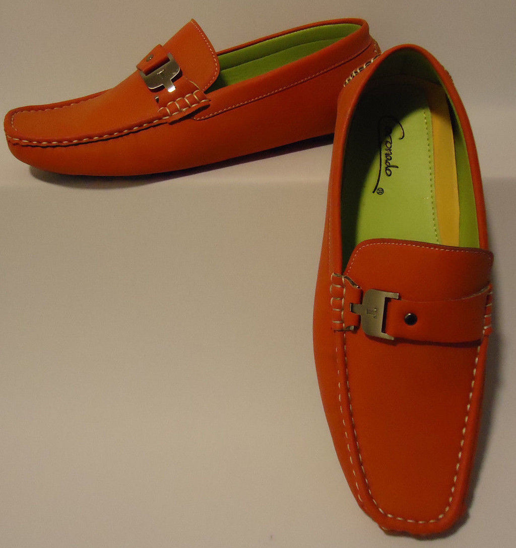 Mens Casual Dress Loafers Nice Silver Buckle Soft Suede-Look and Feel Moc5-Red - Nader Fashion Las Vegas