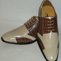 Mens Fashionable Beige Brown Two Tone Pointed Toe Dress Shoes Liberty LS1044 - Nader Fashion Las Vegas