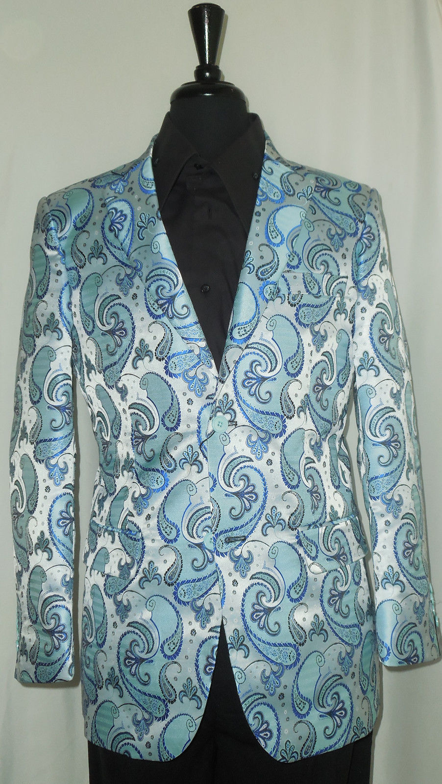 Mens Oceanic Blue Paisley Leonardi Blazer Stylish Fit Great w/ Jeans Style 860 - Nader Fashion Las Vegas