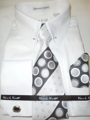 Mens White Subtle Stripe Collar Bar French Cuff Dress Shirt + Tie Karl Knox 4367 S