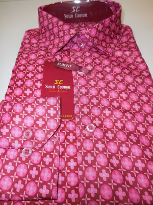Mens Cool Pink Mauve Baby Pink Modern Fit Stylish Club Shirt Suslo Couture M20 - Nader Fashion Las Vegas