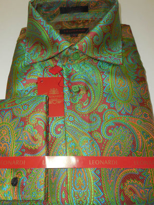 Mens Green Rust Paisley Labyrinth Spread Collar Cuffed Leonardi Shirt Style 395 - Nader Fashion Las Vegas