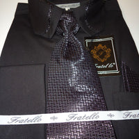 Mens Black Cropped Collar Matching Tie French Cuff Dress Shirt Fratello DS3733 - Nader Fashion Las Vegas