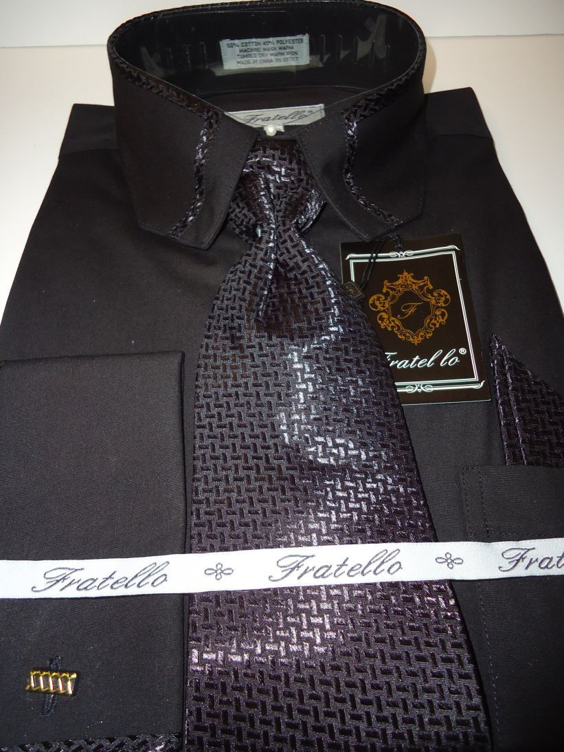 Mens Black Cropped Collar Matching Tie French Cuff Dress
